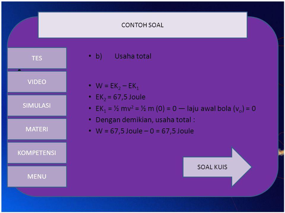 b) Usaha total W = EK2 – EK1 EK2 = 67,5 Joule