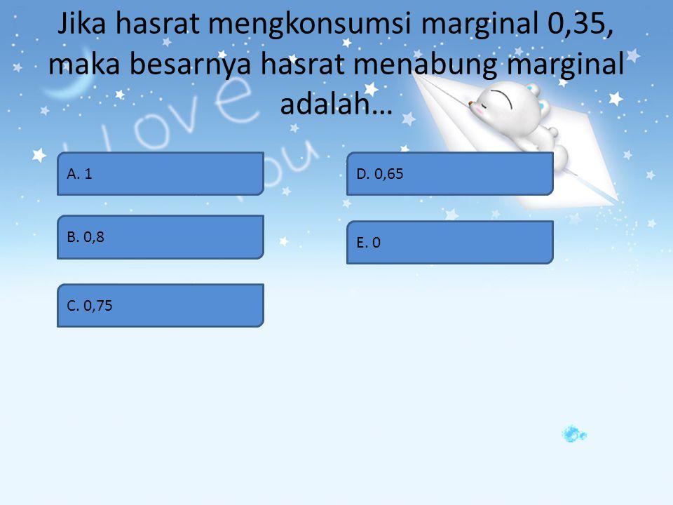 Jika hasrat mengkonsumsi marginal 0,35, maka besarnya hasrat menabung marginal adalah…
