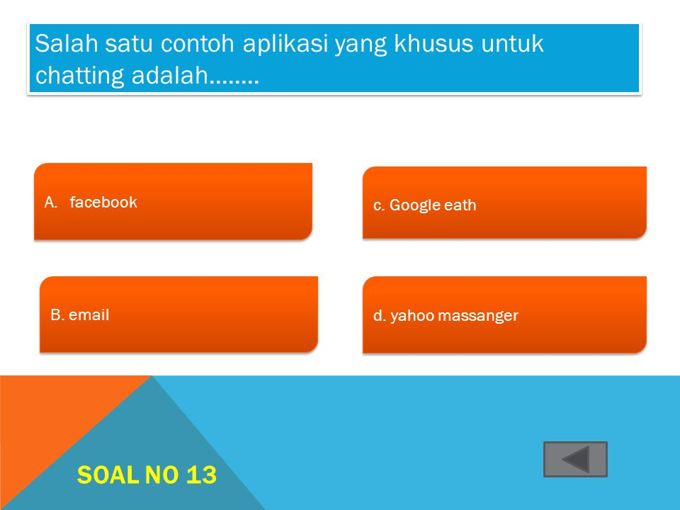 Salah satu contoh aplikasi yang khusus untuk chatting adalah........