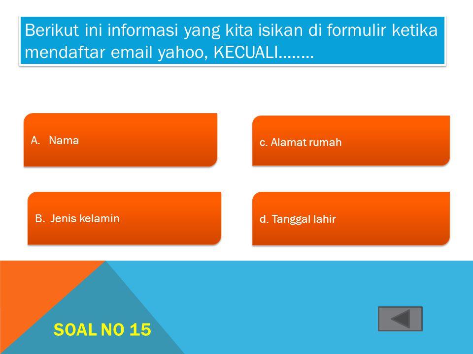 Berikut ini informasi yang kita isikan di formulir ketika mendaftar email yahoo, KECUALI........