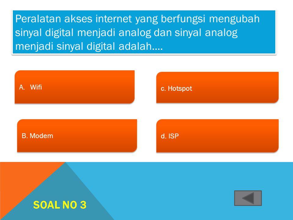Peralatan akses internet yang berfungsi mengubah sinyal digital menjadi analog dan sinyal analog menjadi sinyal digital adalah....