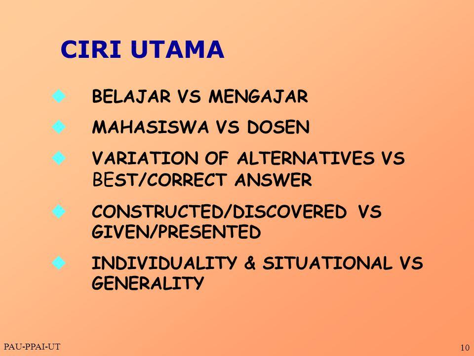 CIRI UTAMA BELAJAR VS MENGAJAR MAHASISWA VS DOSEN