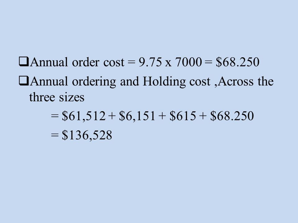 Annual order cost = 9.75 x 7000 = $68.250 Annual ordering and Holding cost ,Across the three sizes.