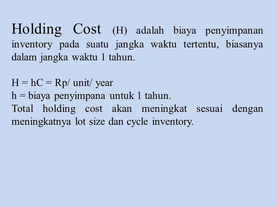Holding Cost (H) adalah biaya penyimpanan inventory pada suatu jangka waktu tertentu, biasanya dalam jangka waktu 1 tahun.
