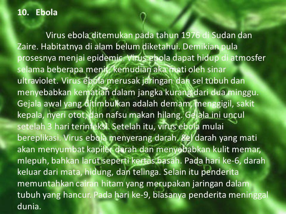 10. Ebola. Virus ebola ditemukan pada tahun 1976 di Sudan dan Zaire