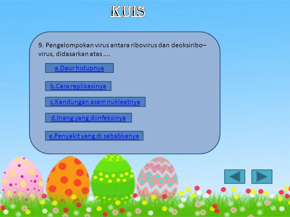 KUIS 9. Pengelompokan virus antara ribovirus dan deoksiribo–virus, didasarkan atas …. a.Daur hidupnya.
