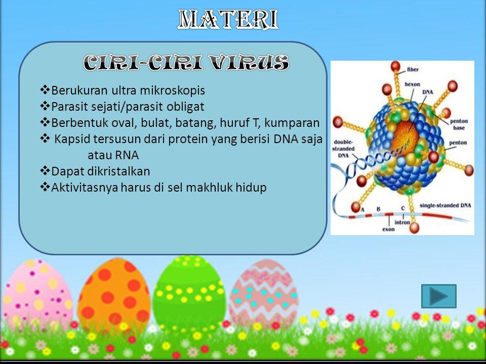 MATERI CIRI-CIRI VIRUS Berukuran ultra mikroskopis