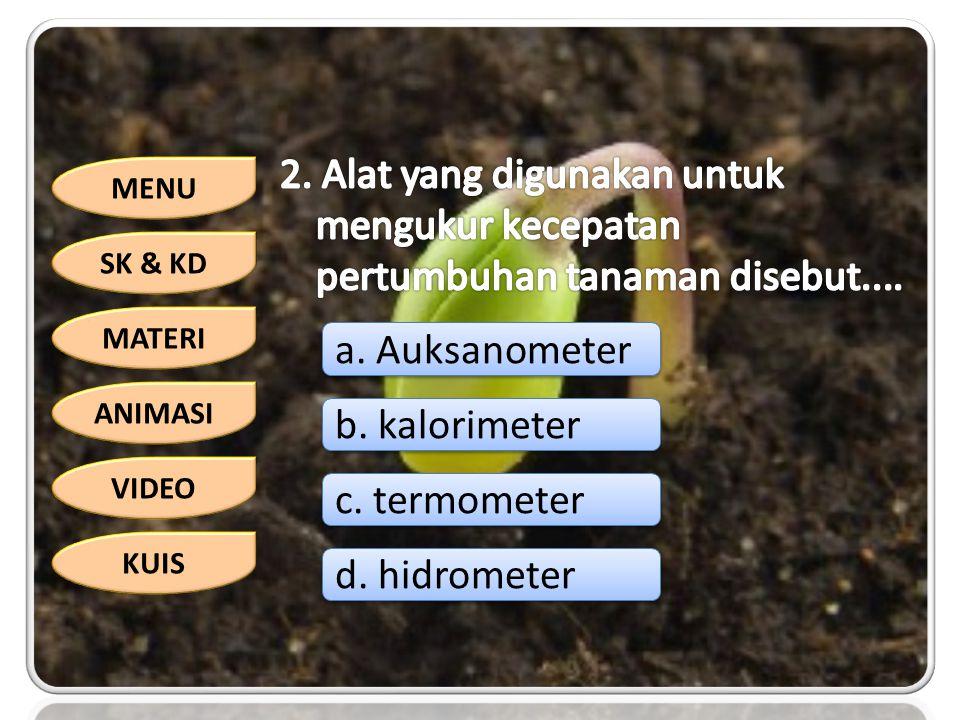 2. Alat yang digunakan untuk mengukur kecepatan pertumbuhan tanaman disebut....