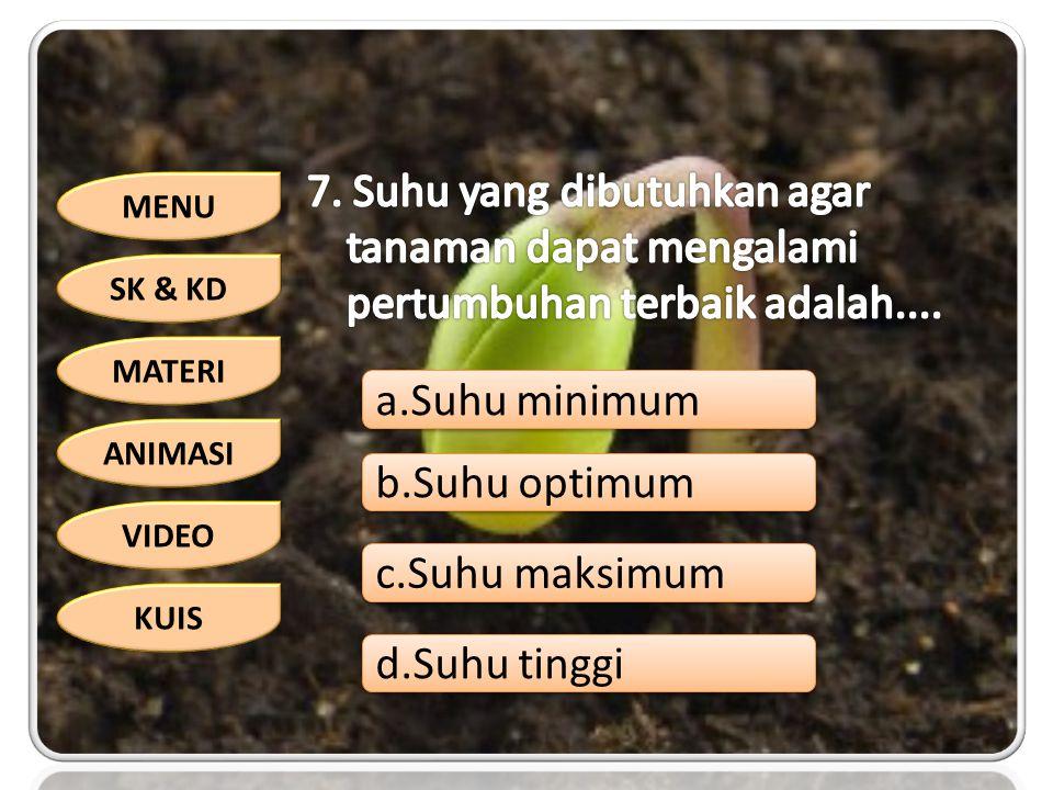 7. Suhu yang dibutuhkan agar tanaman dapat mengalami pertumbuhan terbaik adalah....