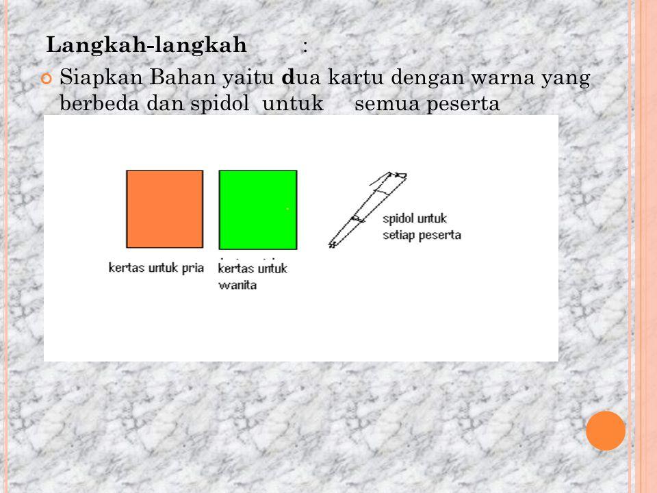 Langkah-langkah : Siapkan Bahan yaitu dua kartu dengan warna yang berbeda dan spidol untuk semua peserta.