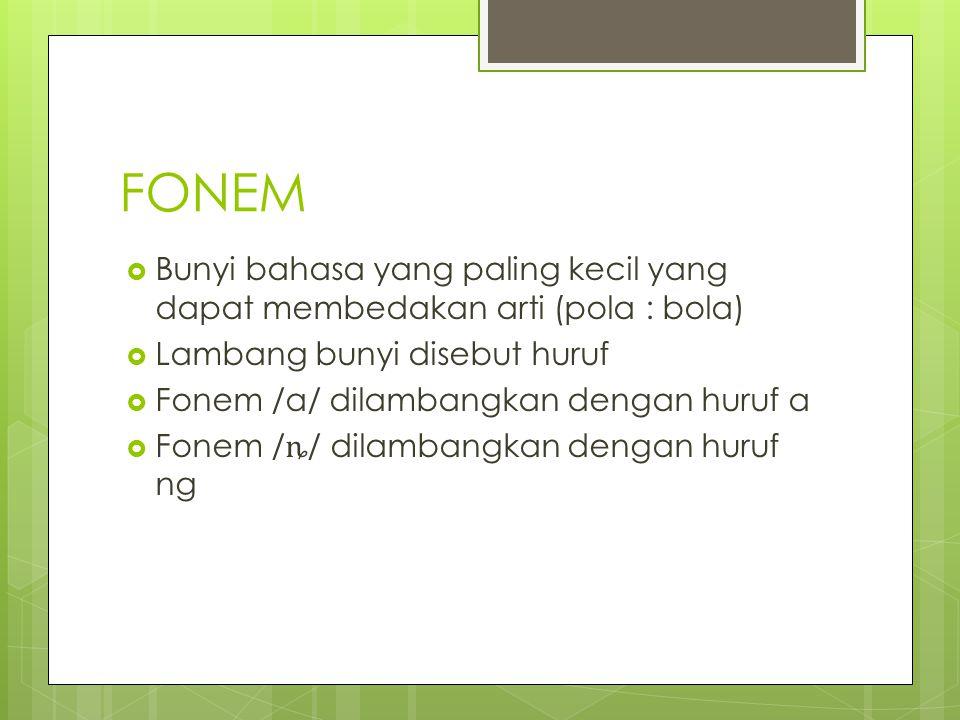 FONEM Bunyi bahasa yang paling kecil yang dapat membedakan arti (pola : bola) Lambang bunyi disebut huruf.