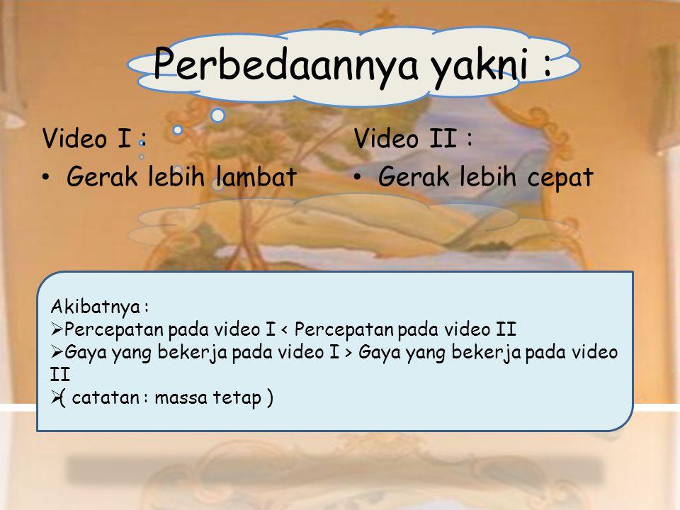 Perbedaannya yakni : Video I : Gerak lebih lambat Video II :