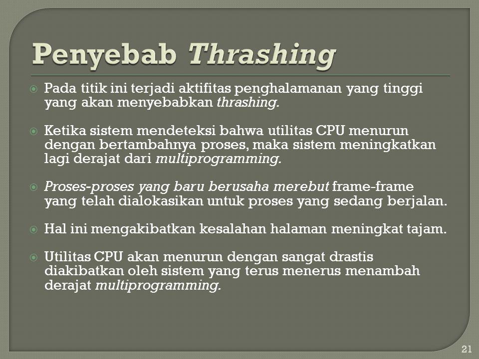 Penyebab Thrashing Pada titik ini terjadi aktifitas penghalamanan yang tinggi yang akan menyebabkan thrashing.