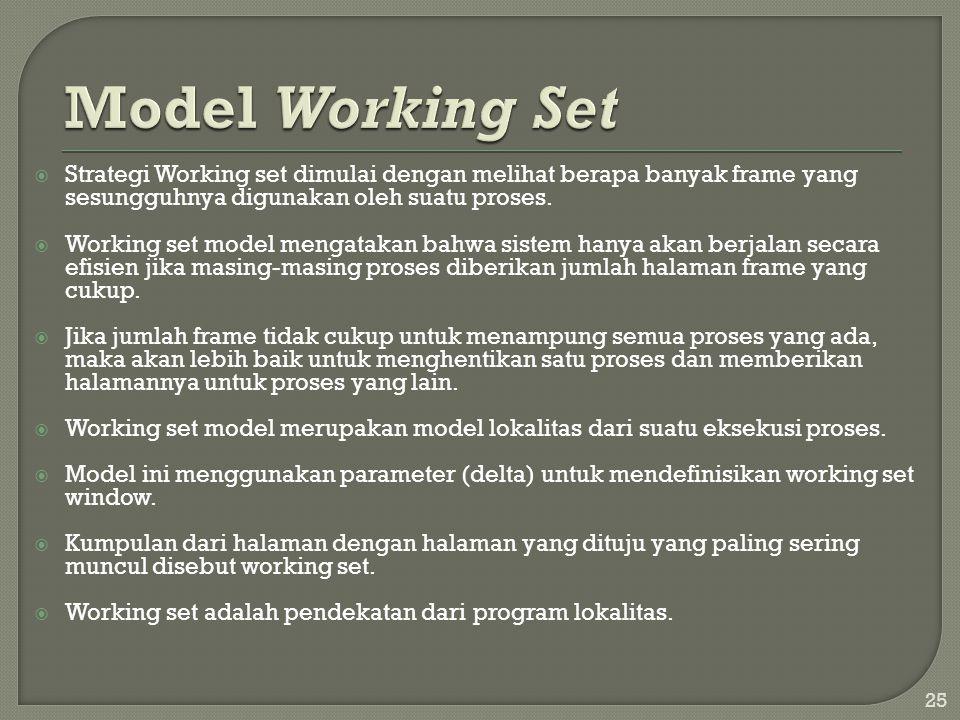 Model Working Set Strategi Working set dimulai dengan melihat berapa banyak frame yang sesungguhnya digunakan oleh suatu proses.