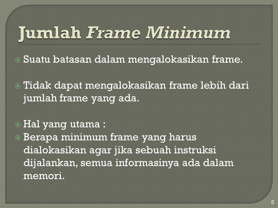 Jumlah Frame Minimum Suatu batasan dalam mengalokasikan frame.