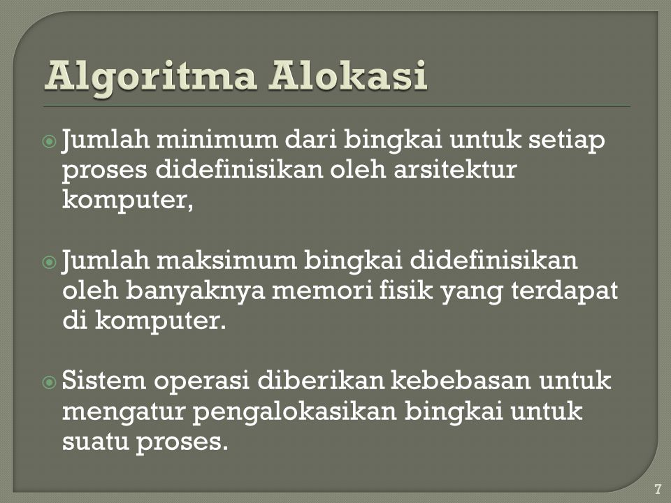 Algoritma Alokasi Jumlah minimum dari bingkai untuk setiap proses didefinisikan oleh arsitektur komputer,
