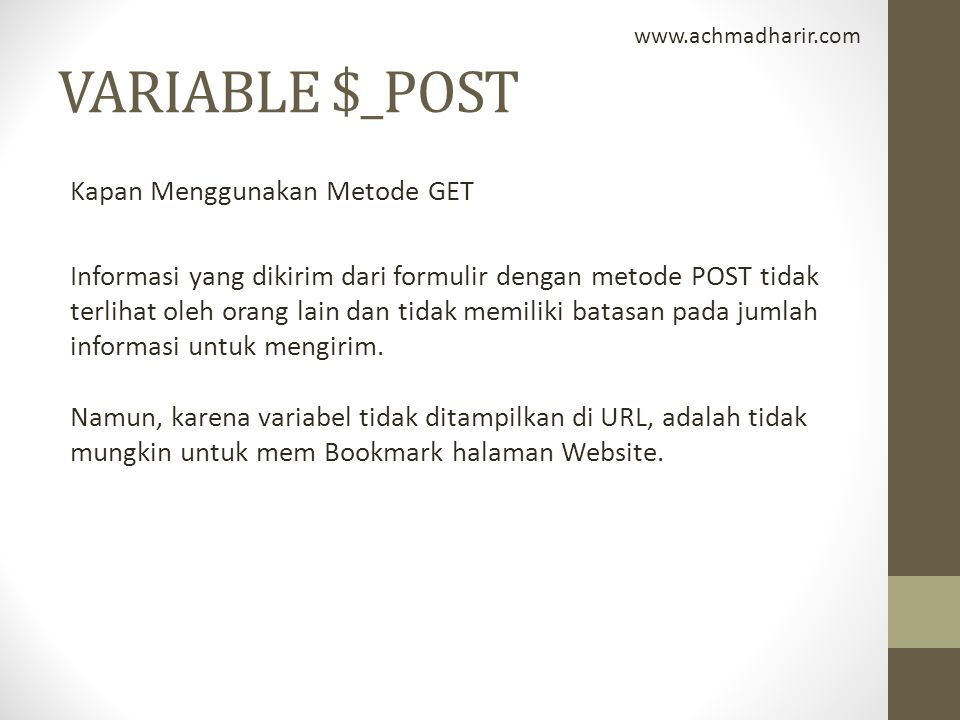 www.achmadharir.com VARIABLE $_POST.