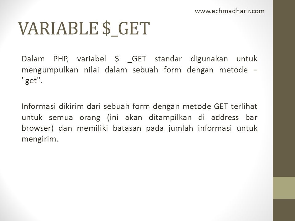 www.achmadharir.com VARIABLE $_GET.