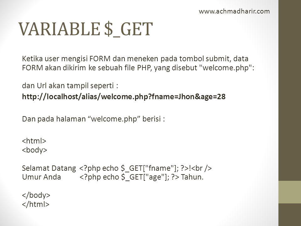 www.achmadharir.com VARIABLE $_GET.