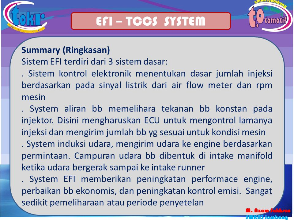 EFI – TCCS SYSTEM Summary (Ringkasan)