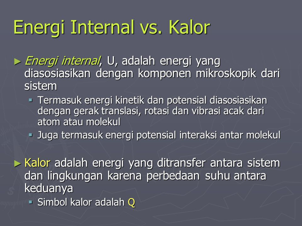 Energi Internal vs. Kalor