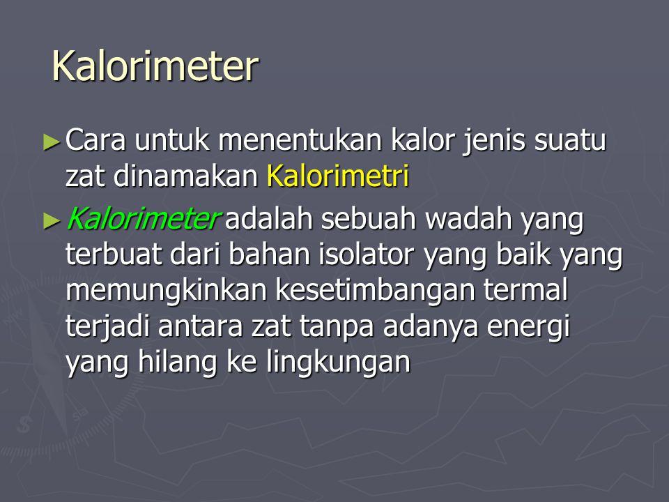 Kalorimeter Cara untuk menentukan kalor jenis suatu zat dinamakan Kalorimetri.