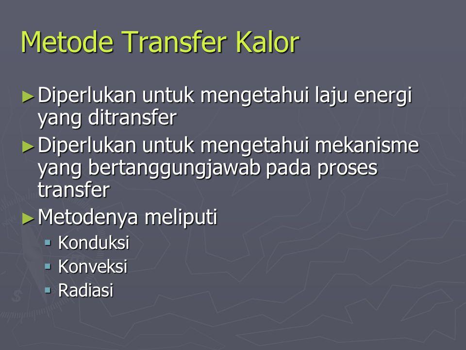 Metode Transfer Kalor Diperlukan untuk mengetahui laju energi yang ditransfer.