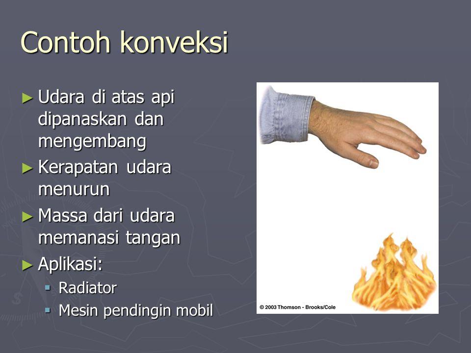 Contoh konveksi Udara di atas api dipanaskan dan mengembang