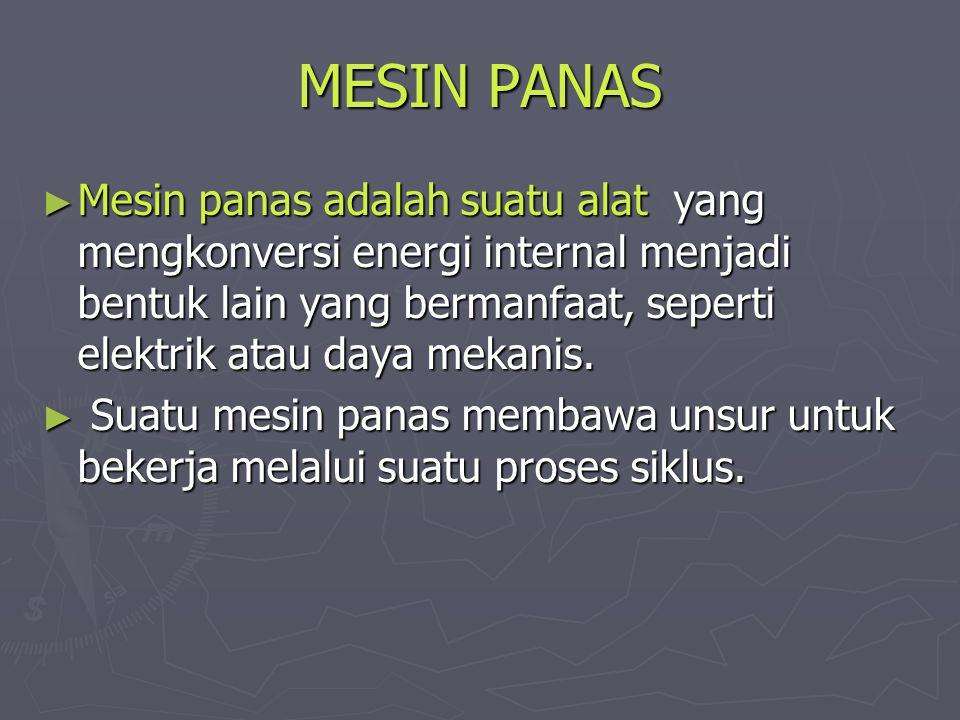 MESIN PANAS Mesin panas adalah suatu alat yang mengkonversi energi internal menjadi bentuk lain yang bermanfaat, seperti elektrik atau daya mekanis.