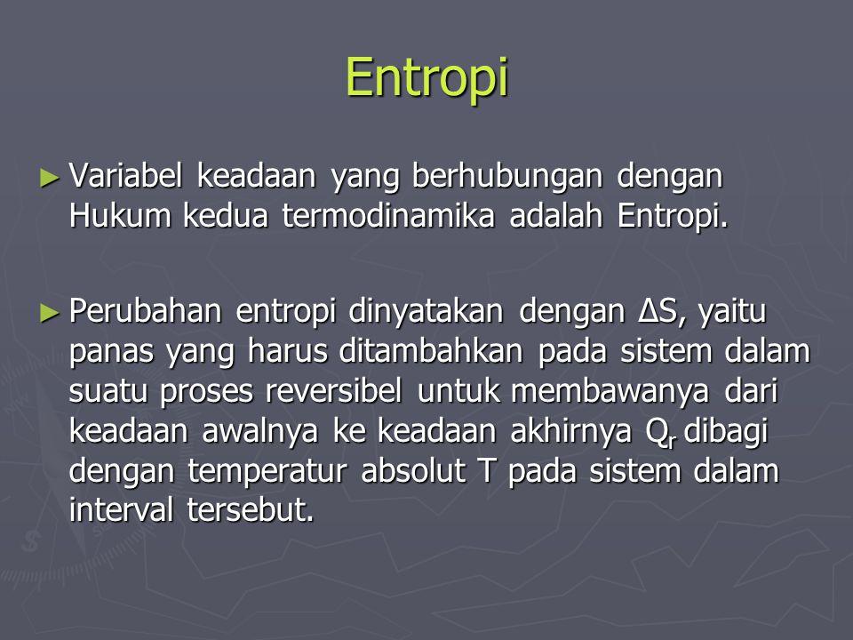 Entropi Variabel keadaan yang berhubungan dengan Hukum kedua termodinamika adalah Entropi.