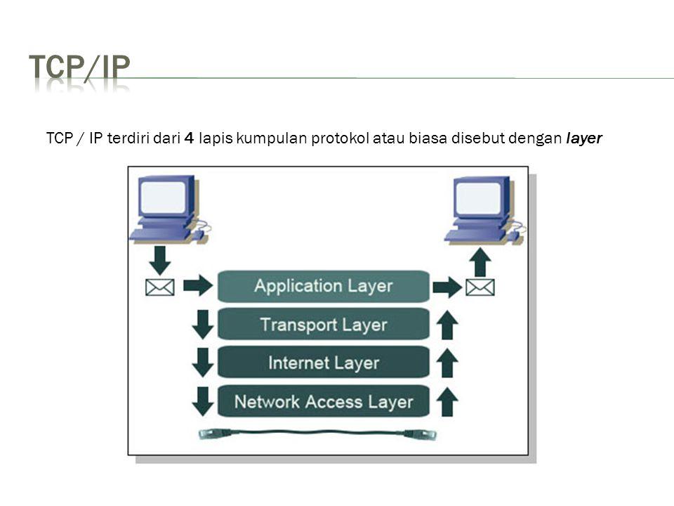 TCP/IP TCP / IP terdiri dari 4 lapis kumpulan protokol atau biasa disebut dengan layer