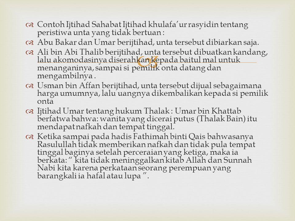 Contoh Ijtihad Sahabat Ijtihad khulafa'ur rasyidin tentang peristiwa unta yang tidak bertuan :