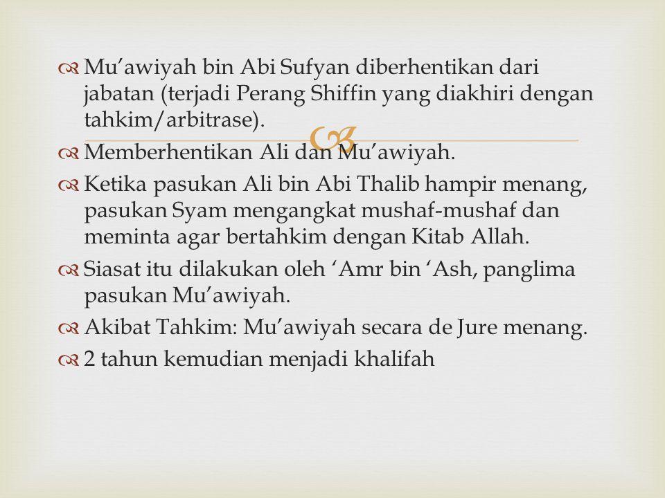 Mu'awiyah bin Abi Sufyan diberhentikan dari jabatan (terjadi Perang Shiffin yang diakhiri dengan tahkim/arbitrase).