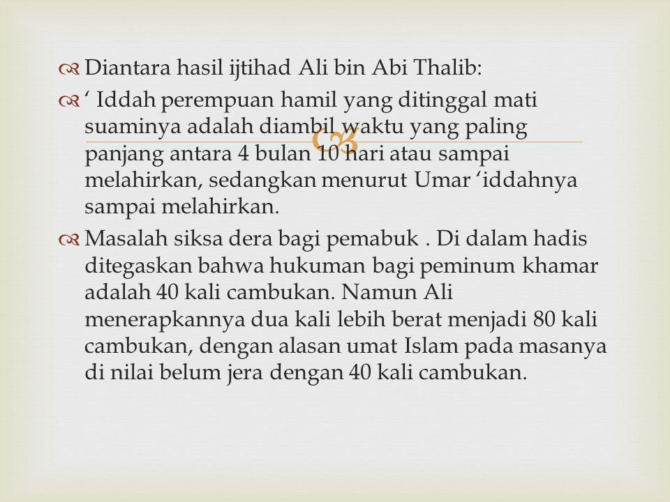 Diantara hasil ijtihad Ali bin Abi Thalib:
