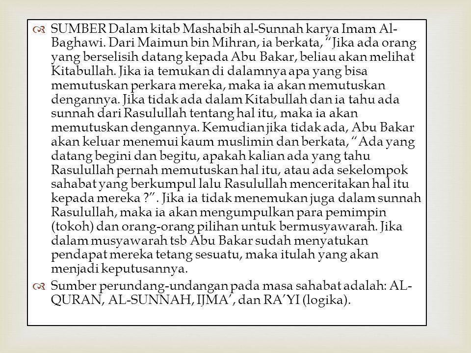 SUMBER Dalam kitab Mashabih al-Sunnah karya Imam Al-Baghawi