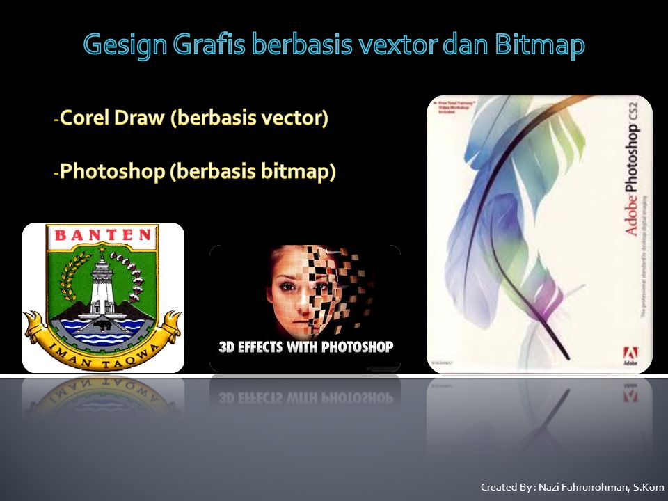 Corel Draw (berbasis vector) Photoshop (berbasis bitmap)