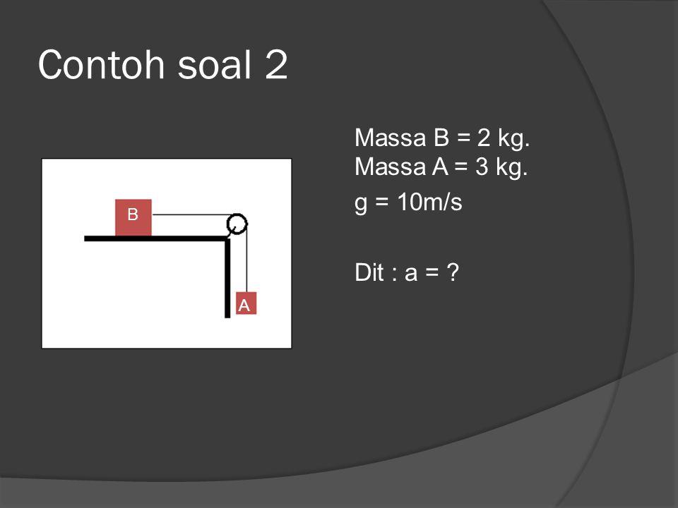 Contoh soal 2 Massa B = 2 kg. Massa A = 3 kg. g = 10m/s Dit : a = B