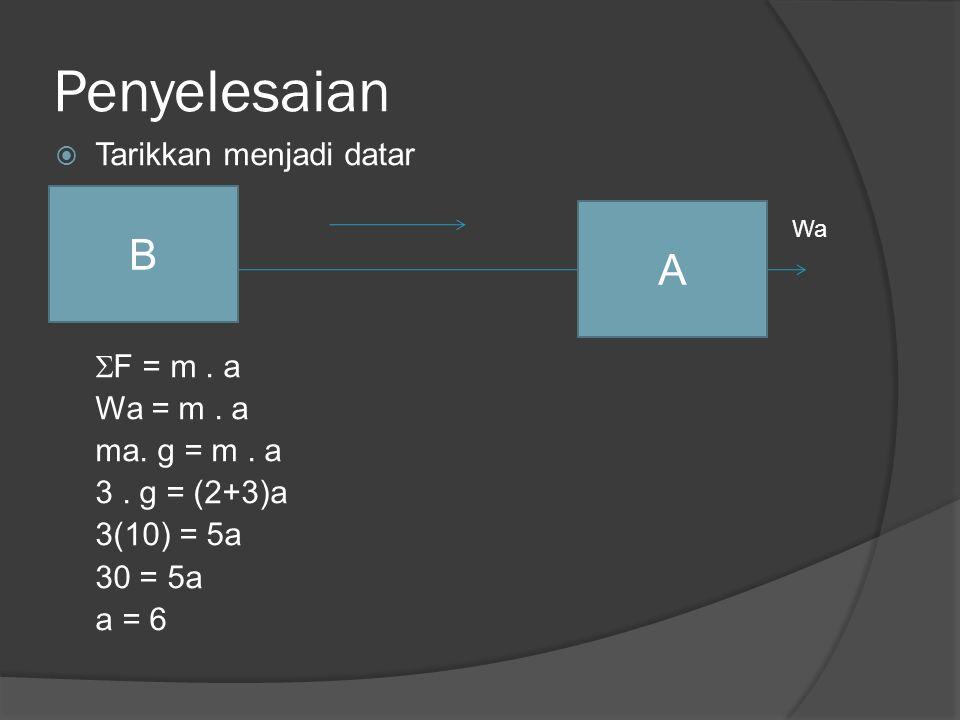 Penyelesaian B A Tarikkan menjadi datar F = m . a Wa = m . a