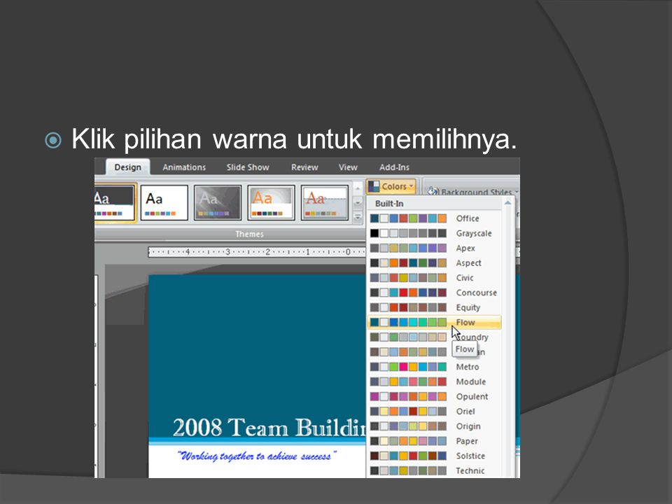Klik pilihan warna untuk memilihnya.