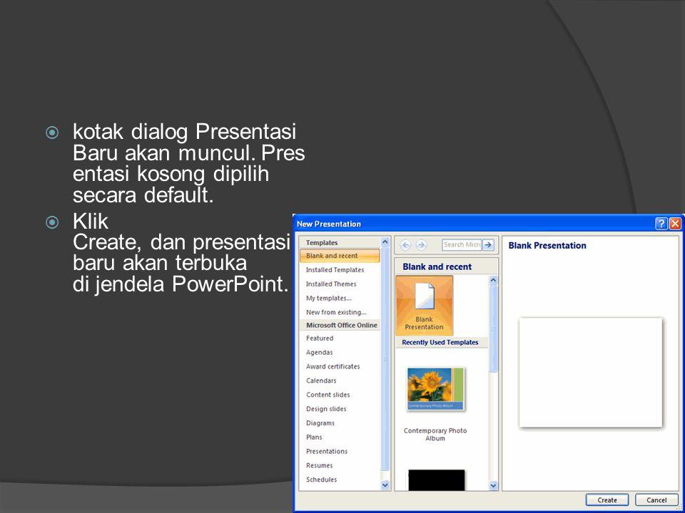 kotak dialog Presentasi Baru akan muncul