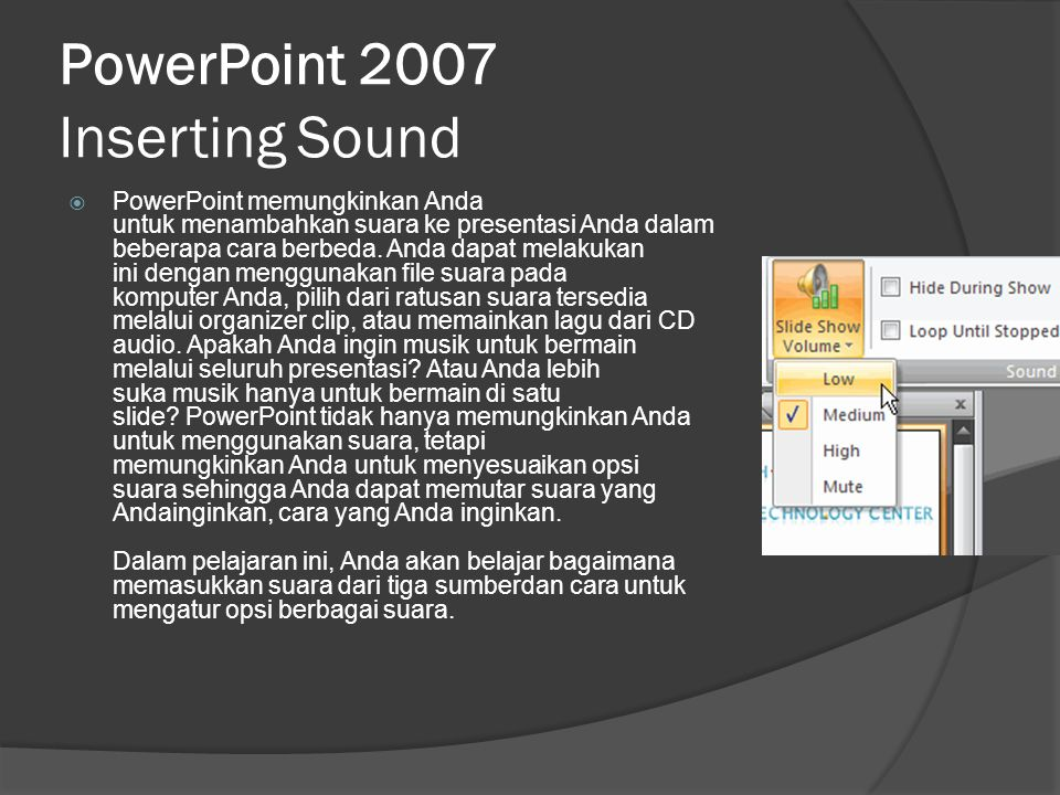 PowerPoint 2007 Inserting Sound