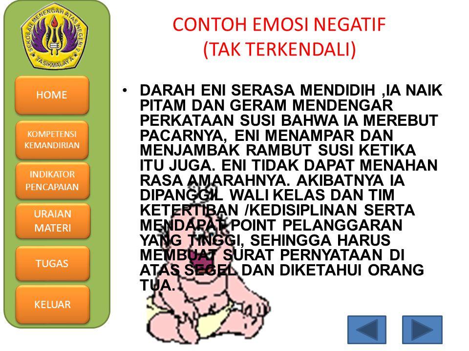 CONTOH EMOSI NEGATIF (TAK TERKENDALI)