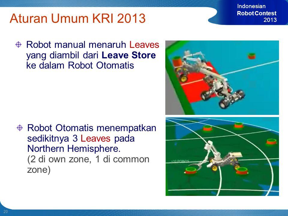 Indonesian Robot Contest. 2013. Aturan Umum KRI 2013. Robot manual menaruh Leaves yang diambil dari Leave Store ke dalam Robot Otomatis.