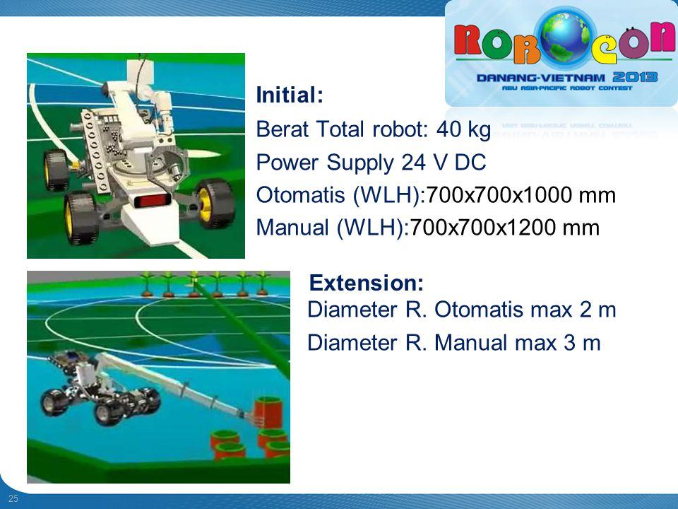 Diameter R. Otomatis max 2 m Diameter R. Manual max 3 m