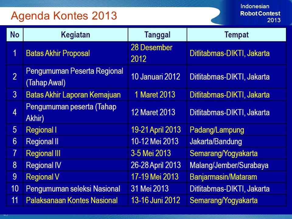 Indonesian Robot Contest 2013 Agenda Kontes 2013