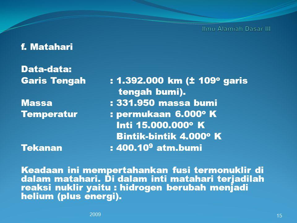 Garis Tengah : 1.392.000 km (± 109o garis tengah bumi).