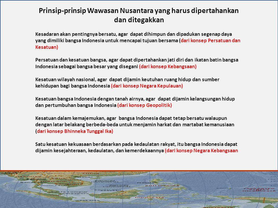 Prinsip-prinsip Wawasan Nusantara yang harus dipertahankan dan ditegakkan