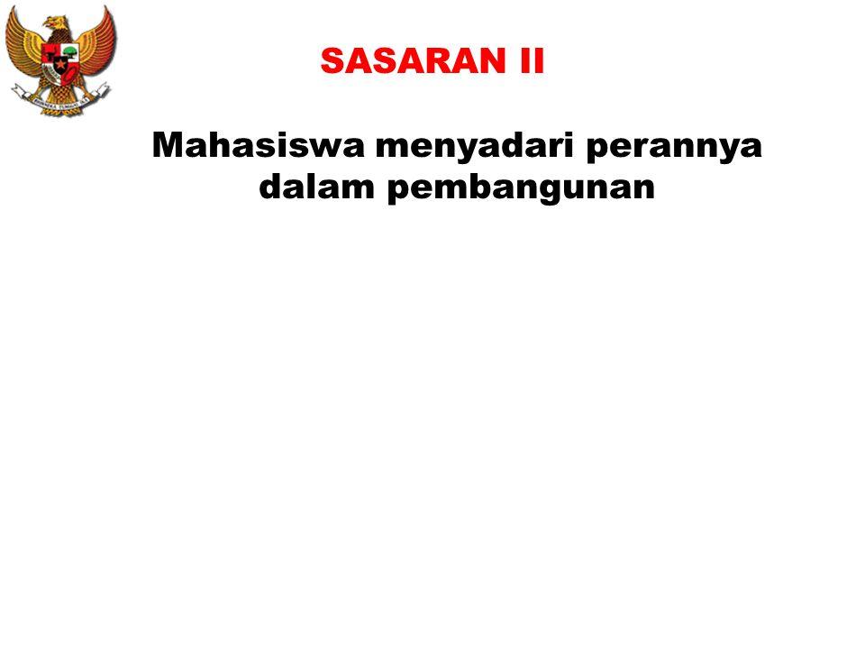 SASARAN II Mahasiswa menyadari perannya dalam pembangunan