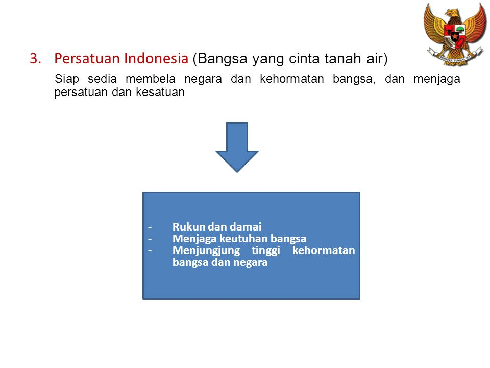 Persatuan Indonesia (Bangsa yang cinta tanah air)