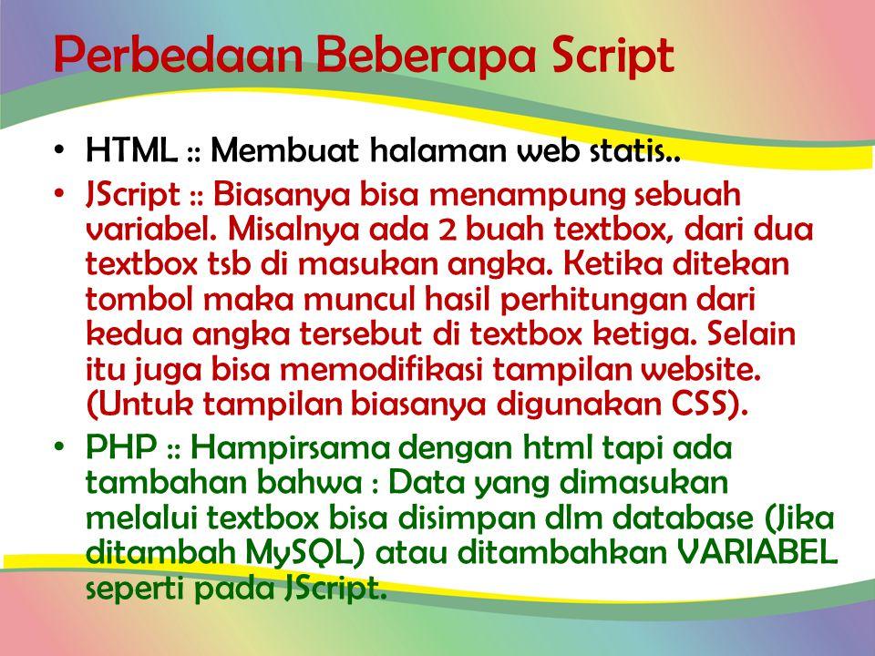 Perbedaan Beberapa Script